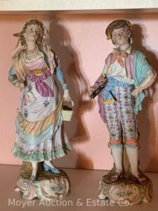 "Pair of Bisque Porcelain Figures, 15""h, no markings"