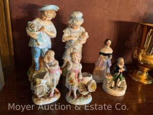 "3prs. of Porcelain Figurines, 5""-10""h, all antique"