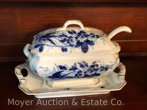 "Flow Blue Antique Ironstone Tureen w/ladle & 16"" matching undertray, bluebird & buckle pattern, 10""high overall, appears exc. cond."