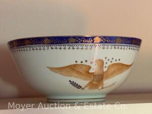 "Antique Porcelain Bowl with handprinted Eagle decoration, numbers on bottom, 4 1/2""h x 10""w"