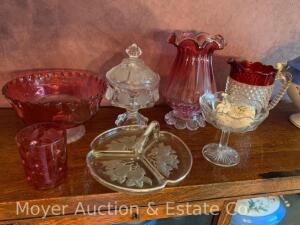 Group of Cranberry & Clear Glassware incl. bowl, vase, ruby hobnail pitcher, coin candy dish, etc.