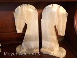 "Pair of Onyx Horse Head Bookends, 11""h"