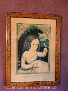 """The Little Favorite"" Victorian Lithograph of Girl in antique frame, overall size: 17""h x 13""w"