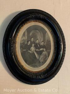 "Antique Oval Frame with General Grant & Family Engraving, overall: 15""h x 12""w"