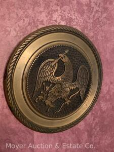 "Cast Bronze Plaque of Eagle, older, 9"" round"