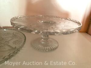 "Fine Glass Cake Stand, 12""w x 5""h, flower design; and glass serving plate with separate pedestal"