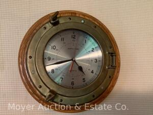 "Ship's Time Brass & Oak Wall Clock, quartz batt. operated, 14""w"