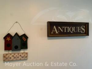 Group of Decorative Items in entry incl. Antique sign, copper tea pot, baskets, wire basket, etc.