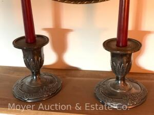 "Pair of Reed & Barton silverplated candleholders, 5""h"