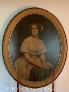 "Oval Portrait of Jenny Lind, cardboard print in gold frame, 33""h"