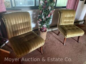 "Pair of Gold Stripe Slipper Chairs, 25""w x 36""h"