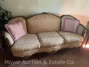 "Formal Sofa, carved wood frame, good condition, 81""w"
