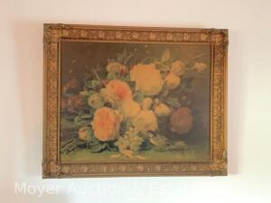 "Decorative Floral Print, gold framed on cardboard, 27""h x 33""w"