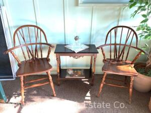 Pair of Windsor-style Chairs, Wooden Side Table, & Clear Glass Oil Lamp