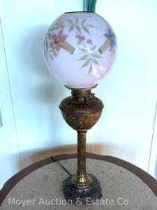"Antique Brass Parlor Lamp with handptd. milk glass shade, electrified, missing chimney, 26""h"