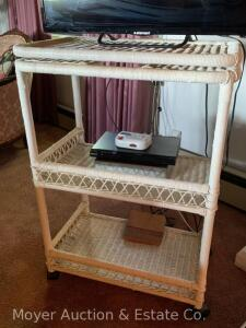 "White Wicker-style TV Stand, swivel top, on castors, 36""h, 17"" x 26"" top"