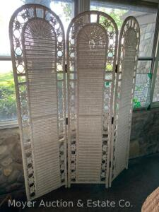 "White Wicker-style 3section Screen, 54""w x 6ft.h"