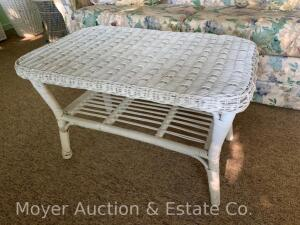 "White Wicker-style Coffee Table, good cond., top is 31"" x 19"""