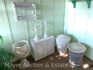 Group of White Wicker incl. Dbl. Door Cabinet, Wall Shelf, Plant Stand, Round Stand, Basket w/lid, etc.