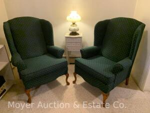 Pair of Wing-back Chairs, hunter green upholstery, clean & good cond.