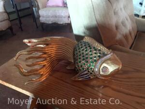 "Carved Wood Decorative Gold Fish with mirrored/jewel decoration, 16""long"