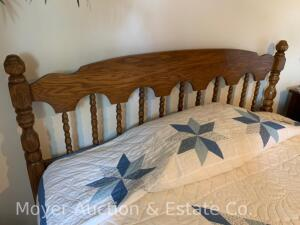 "Oak Headboard & Hollywood Metal Frame, 62""wide with pillow-top mattress & boxspring, clean & all good condition"