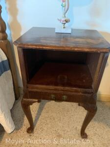 "Mahogany Night Stand w/Drawer, water staining on top, 18""w"