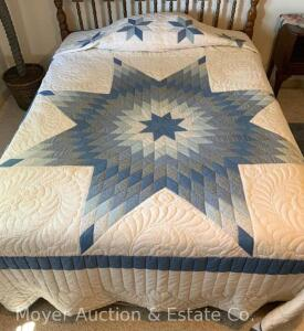 "LoneStar Quilt, hand-quilted, appx. 93"" x 107"", good cond."