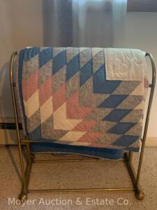 "LoneStar Quilt, 93"" x 107"", hand-quilted, one repaired patch, normal wear/soil from use, includes metal quilt stand"