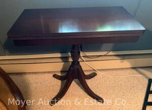 "Mahogany Flip-top Game Table, 30""w, good cond."