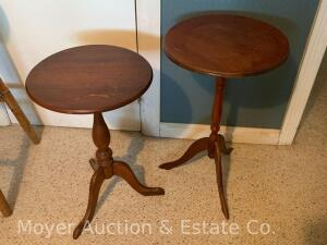 "2 Wooden 3leg Plant Stands, 21"" & 23""h"