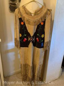 Antique Indian Dress with beaded decoration, fringe loss & tearing, underarms separating