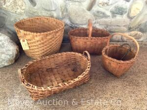 Group of 4 Old Indian Baskets incl. woven oak, mini. handled, etc.