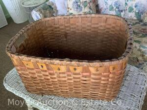 "Indian-style Woven Basket, good cond., 22""w x 18""d x 12""h"