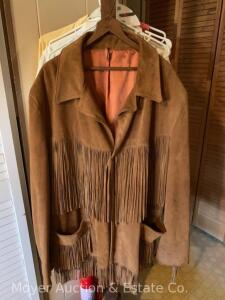 Lariat Leathers Mens Suede Leather Jacket with fringe, probably mens size XL, nice condition