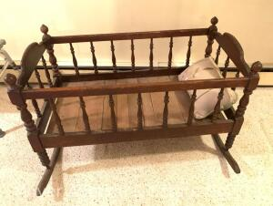 Antique Oak Baby Cradle
