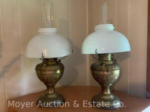 Pair of Juno Brass Table Lamps, antique, both electrified, both with white glass shades & chimneys