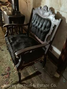 "Victorian settee, good frame, needs reupholstering, 34""wide"