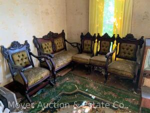 "5pc. Victorian Parlor Set, mahogany, upholstery needs cleaning, good original finish, all 40""high"