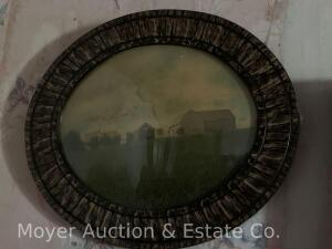 "Antique oval curved glass frame with tinted farm photograph, 21""wide x 19""high"