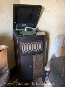 Mastertone Upright Phonograph, mahogany cabinet, with records, works slow, cabinet dirty