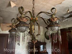 3 Matching 5 bulb Vintage Electric Hanging Light Fixtures, polychrome finish, dirty, 1 beaded fringe