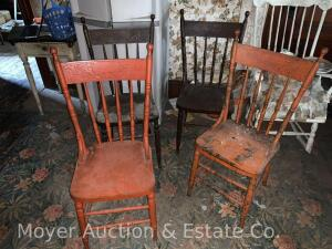 Set of 4 pressed-back kitchen chairs, 2painited orange