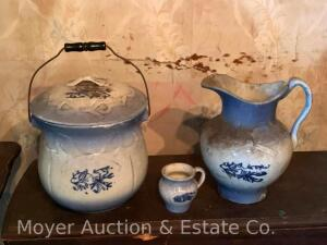 "4pc. Matchng Chamber Set: 11"" Pitcher, 3 1/2""h cup, sm. covered dish & chamber pot with lid, chip on base of pitcher otherwise good, no marks"