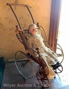 Antique Doll Carriage with antique porcelain doll (doll in poor cond., head is ok)