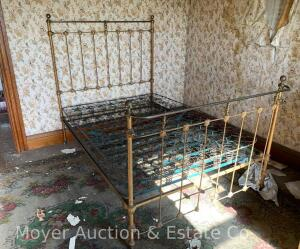 "Antique Iron Bed Frame, brass tops, curved foot end, 53""wide headboard, 6ft.+long"