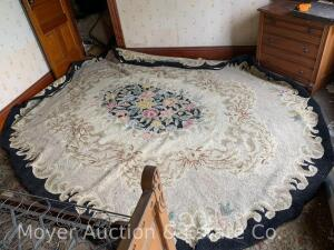 Large Oval Black Floral Hooked Rug, appx. 8 1/2ft x 11ft., appears pretty good, needs cleaning