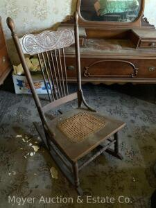 Oak Pressed-back Sewing Rocker with good caned seat