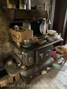 "Columbian Choice wood burning kitchen stove, overall size: 55""wide x 31""deep, top is poor condition"