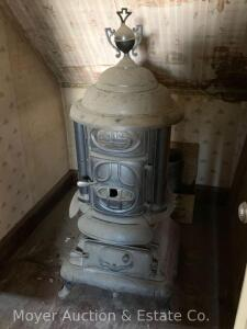 "Empire Stove Co. ""Paris"" round parlor stove, with finial, appears exc. cond., 54""h"